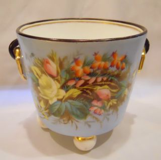 Ct Tielsch Germany Porcelain Cache Pot Hand Painted Flowers Blue Mark photo