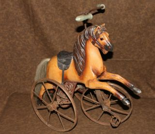 Vintage Wood Horse Doll Tricycle Trike Horse Hair Tail Leather Saddle Cast Iron photo