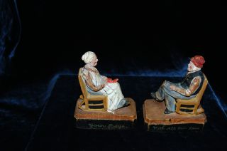 Vintage Pair Hand Painted Carved Wood Old Men And Woman Figurines photo