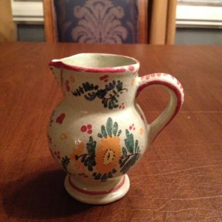 French Hand Painted Faience Pitcher Bon Vin Poink D ' Eseigne photo