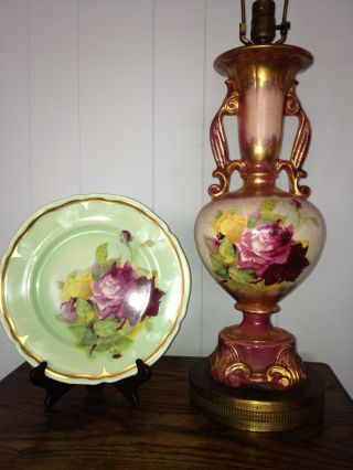 Ullrich Set Of Hand Painted Decorative Plate And Lamp photo
