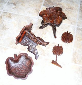 7 Carved Wood Items From India - - - Leafs,  Palm Tree,  2 Hinged Stands +++ photo