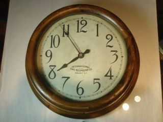 Large Antique International Electric School House Clock photo