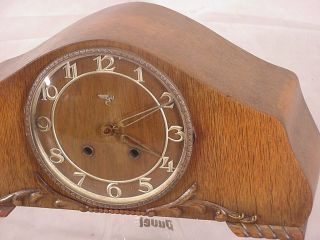Art Deco Mantel Shelf Clock 8 Day Black Forest Speck Emil Schwenningen Germany photo