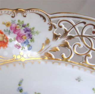 Antique Dresden Porcelain Reticulated Bowl,  Hand Painted And Gilt,  Heufel & Co. photo