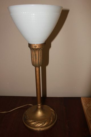 Art Deco Table Lamp With Glass Shade photo