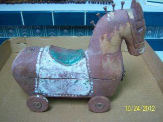 Vintage Wooden Hand - Made Trojan Horse photo