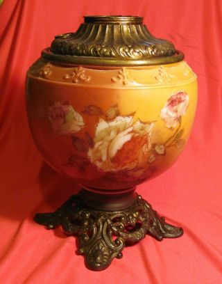 Antique Victorian Lamp Base Hand Painted Cabbage Roses Rose Floral Flower photo