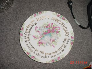 Vintage Porclean Anniversay Plate With Gold Writing Flower Border And Bells photo