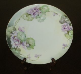 Antique Limoges=tressemanes & Vogt=violets Plate Gold Trim=signed E.  J.  C From1892 photo