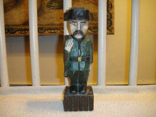Vintage Wood Carving Of Military Soldier In Uniform - Folk Art Military Army Wood photo