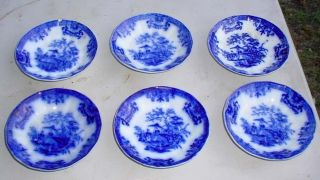 (6) Early Antique Amoy Davenport Dark Flow Blue Saucers 5 7/8