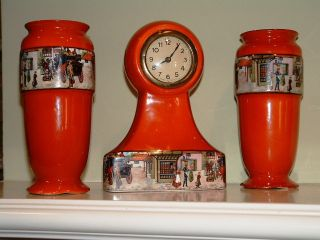 L & S Sons,  Hanley,  England,  Coaching Days,  Ceramic Garniture,  Clock & 2 Vases photo