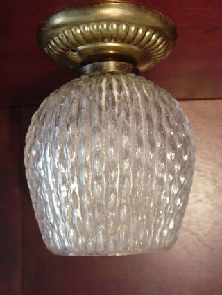 Retro Bubble Rippled Glass Hanging Lamp Light Fixture Shade 60s Mid Cent Eames photo
