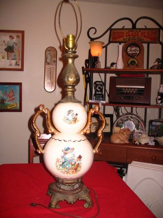 Antique,  Unique,  Hand Painted,  Victorian / French Country Lamp. .  Awesome photo