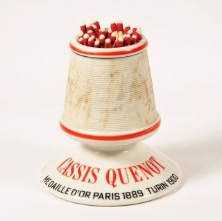 Vintage French Cassis Quenot Match Striker - Holder - Porcelain Decorative photo