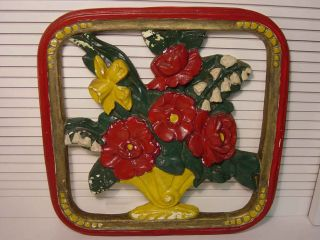 Antique Gesso Chalkware Flower Basket Cutouts Wall Plaque Hanging Art Sculpture photo