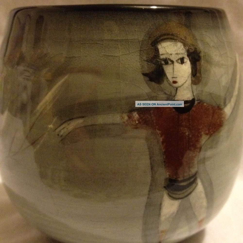 Polia Pillin Art Pottery Vase Woman Man Rooster Tree