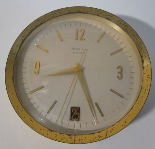 Tiffany & Co.  Vintage Electric Table - Top Desk Mantle Clock Swiss Made W/ Date photo