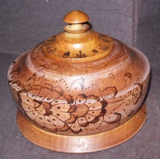 Antique Primitive Treen Covered Sugar Bowl Pyrography Design Aafa photo