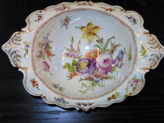Dresden China Footed Bowl With Crown H Marking photo