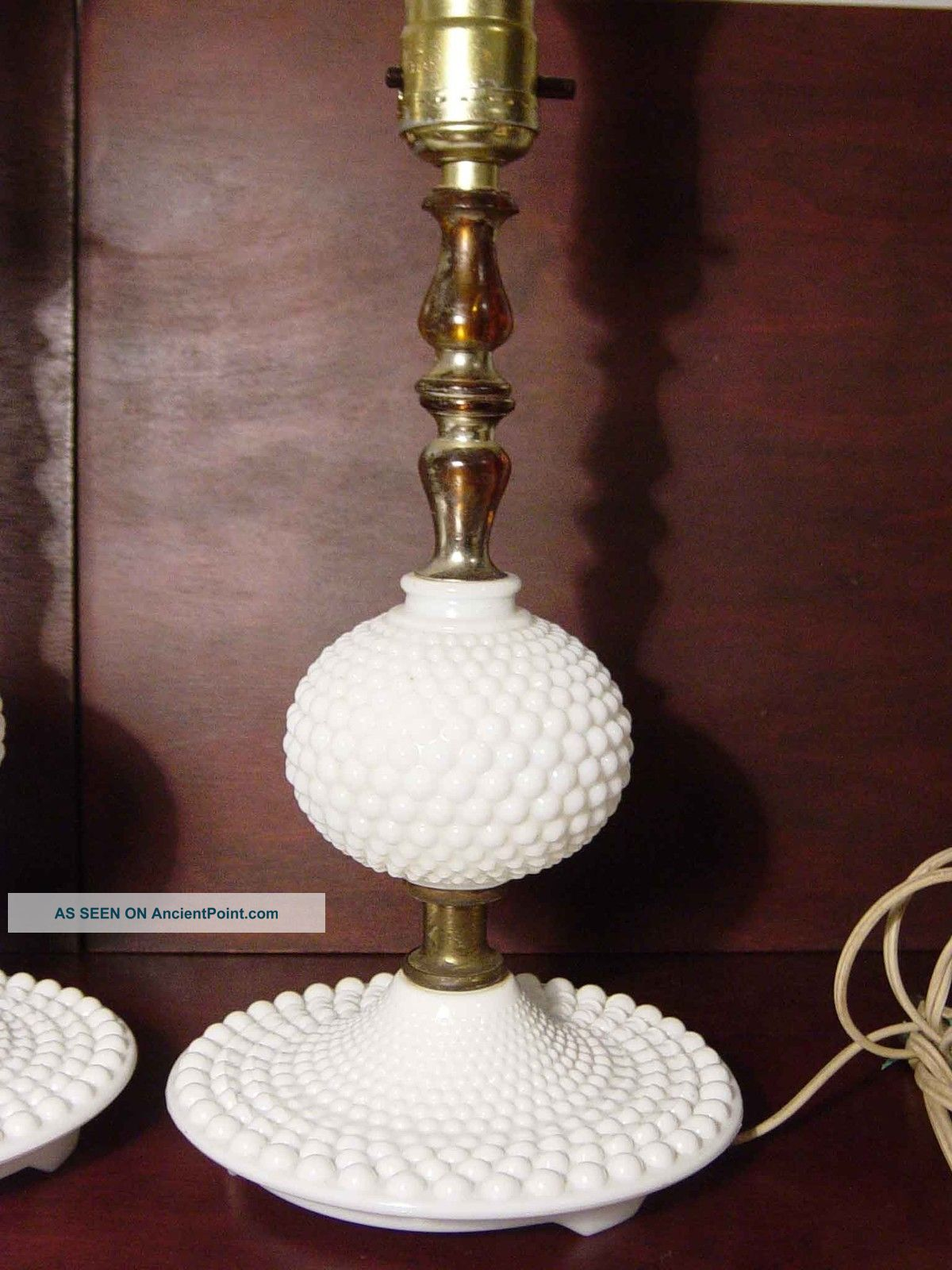 Matching Pair Vintage Milk Glass Ball Hobnail Boudoir Small Table Lamps  Fenton