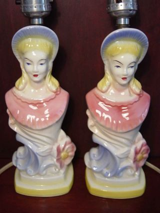 Matching Pair Vintage Lady Figural Table Lamp Head Vase Style Gone With The Wind photo