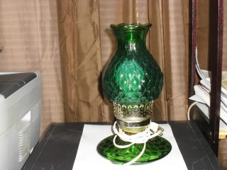 Vintage Table Lamp Green Glass Diamond Pattern Works 10 1/2 Inches Tall photo