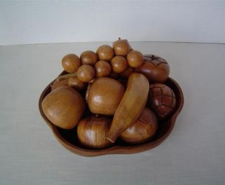 Vtg Leilani Monkey Pod Wood Fruit Bowl Set 12 Hand Carved Fruits In Carved Bowl photo