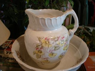Antique Large Wash Bowl With Pitcher photo