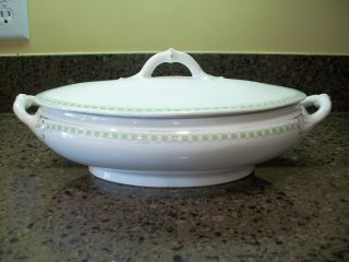 Antique Vienna Austria Square Garland Oval Tureen Bowl With Lid photo