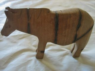 Vintage Antique? Hand Carved Wood Zebra Animal Figure photo