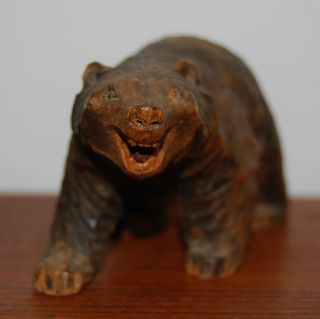 Vintage Folk Art Carved Grizzly Or Golden Bear Wood Sculpture 1930s photo