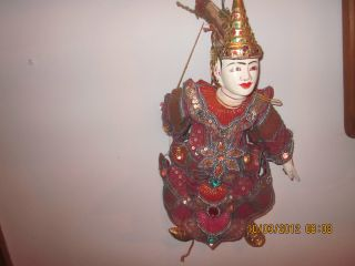 Vintage Doll Mannequin Puppet Asian Wood & Fabric Sequined/studded photo