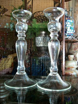 Antique Hand Blown Glass Candlesticks Pair C.  Turn - 20th Century Baluster Shaped photo