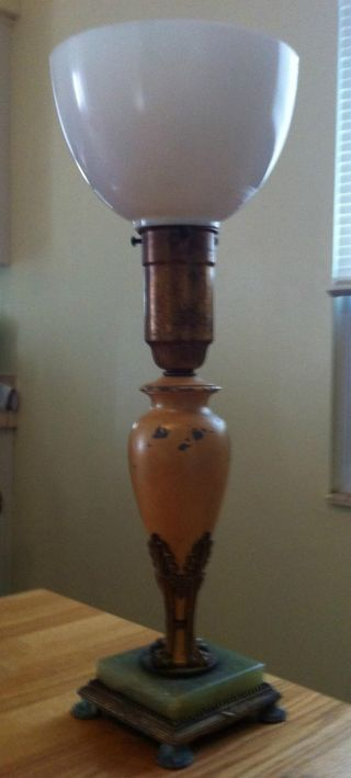 Vintage Lamp Rare Made By Artistic Brass & Brz Works Nyc photo