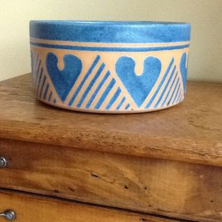 Vintage Handmade Terracotta Bowl Glazed Beautifully With Hearts Bowl photo