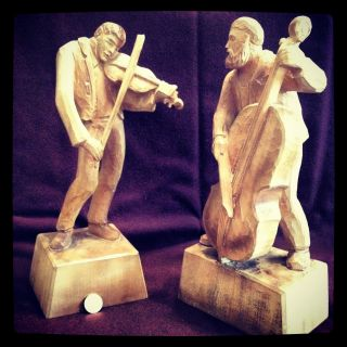 Sculptures,  Carved Linden Wood,  Signed By Artist Willi Stahl And Dated 1985. photo
