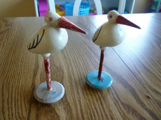Antique Hand Painted Wooden Vintage Folk Art Pelican Statues Czechoslovakia Made photo