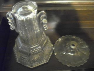 Antique Vintage Cut Glass Crystal? Small Table Desk Lamp Clear Glass Parts photo