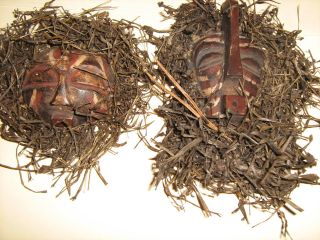 2 African Woodcarving ? Vintage Wooden Masks With Straw Or Raffia photo
