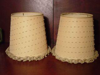 Matching Pair Vintage Ruffled Lace Light Lamp Clip Clamp On Bulb Shades Polk Dot photo
