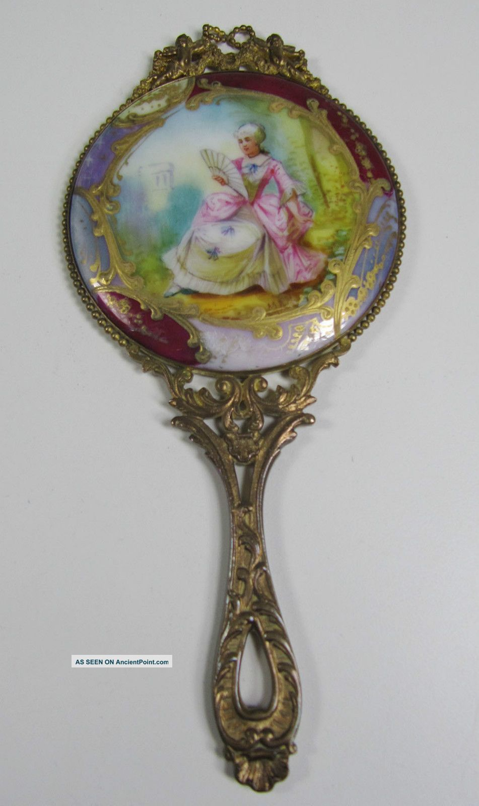 vintage mirror drawing. Fancy Hand Mirror. Antique Porcelain And Brass - Painted Signed Mirror With Cherubs Vintage Drawing