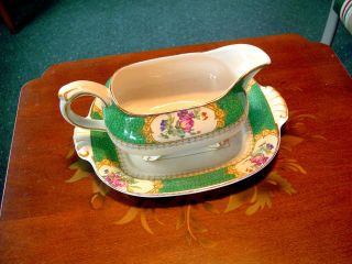 Victorian Maple & Co London Green Gilded W/ Florals Ironstone Gravy & Plate photo
