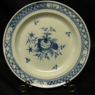 Antique Painted Pearlware Plate Floral Blue White Bourne photo