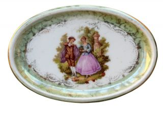 Antique Small Oval Porcelain Plate Marked Hutschenreuther Hohenberg photo