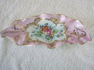 Antique / Vintage Saks 5th Av.  Elegant Porcelain Dish Bowl Made N France.  Signed. photo