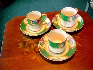 Victorian Maple & Co London Green Gilded W/ Florals Ironstone 3 Demitasse Cups photo