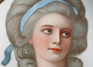 Antique Vintage Victorian Women Portrait Plate Blue Eyes Dress photo
