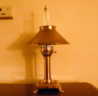 Solid Brass Student Lamp Adjustable Hurricane Chimney photo